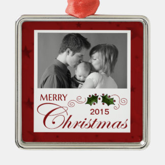 Merry Christmas custom photo/year Metal Ornament