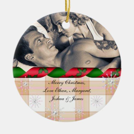 Merry Christmas Custom Picture Snowflakes Ceramic Ornament