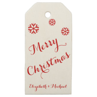 Merry Christmas Custom Red Green Wooden Gift Tags