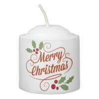 Merry Christmas Customizable White Candle 2