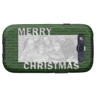 Merry Christmas Cut Out Photo Frame Green Samsung Galaxy S3 Cases
