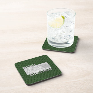 Merry Christmas Cut Out Photo Frame Green Beverage Coasters