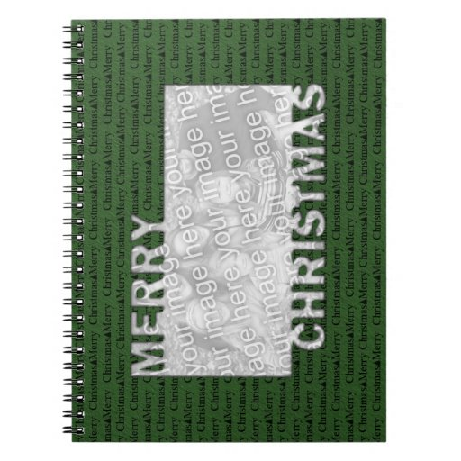 Merry Christmas Cut Out Photo Frame Green Spiral Note Books