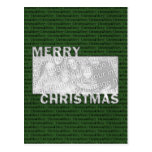 Merry Christmas Cut Out Photo Frame Green Postcard