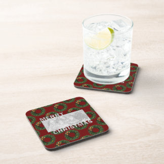 Merry Christmas Cut Out Photo Frame Wreaths Beverage Coaster