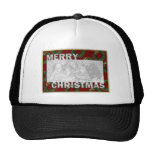 Merry Christmas Cut Out Photo Frame Wreaths Trucker Hat
