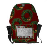 Merry Christmas Cut Out Photo Frame Wreaths Messenger Bag