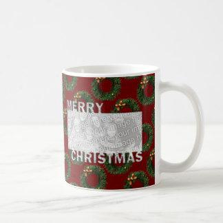 Merry Christmas Cut Out Photo Frame Wreaths Coffee Mug