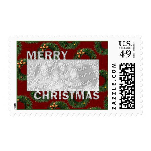 Merry Christmas Cut Out Photo Frame - Wreaths Stamp