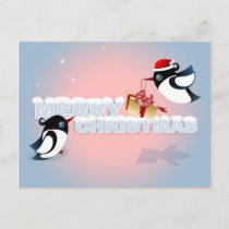 Merry Christmas - Cute Birds Christmas Present Holiday Postcard