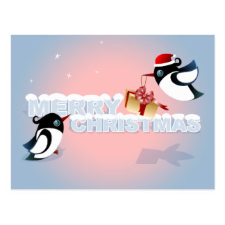 Merry Christmas - Cute Birds Christmas Present Postcard