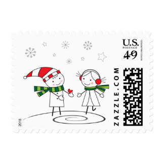 Merry Christmas!Cute Boy and Girl. Postage