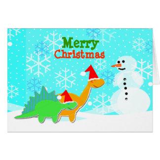 Merry Christmas Cute Cartoon Dinosaurs Card