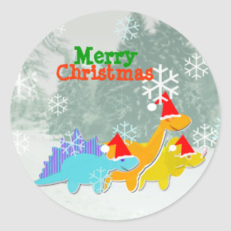 Merry Christmas Cute Cartoon Dinosaurs Stickers
