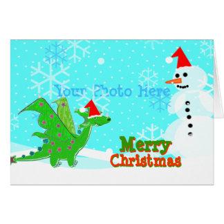 Merry Christmas Cute Cartoon Dragon Snowman Cards