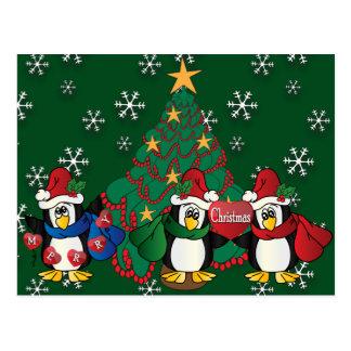 Merry Christmas Cute Cartoon Penguins Postcard