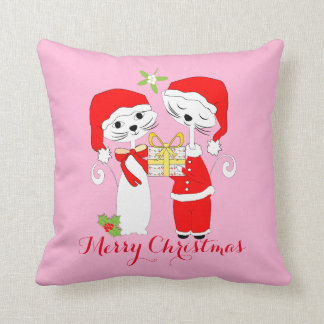 Merry Christmas Cute Cats In Santa Hats Festive Throw Pillow