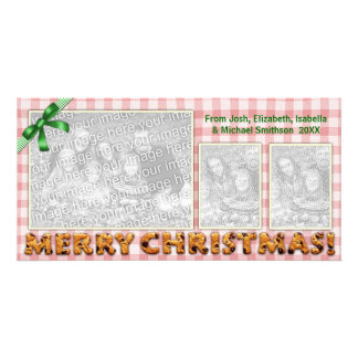 Merry Christmas Cute Cookies Plaid Tablecloth Red Card