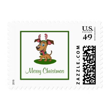 Aztec Themed Merry Christmas Cute Dog Postage