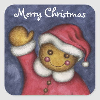 Merry Christmas Cute Gingerbread Cookie Stickers