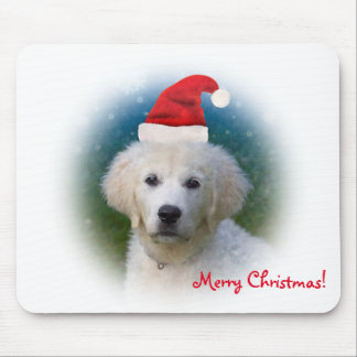 Merry Christmas!   Cute Golden Retriever Puppy Mouse Pad
