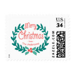 MERRY CHRISTMAS CUTE HAND-DRAWN HOLLY WREATH STAMP