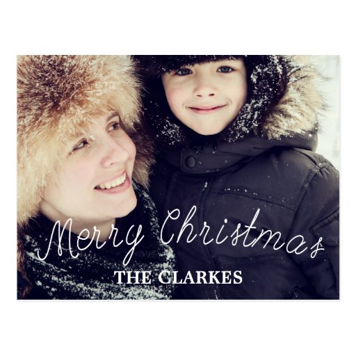Merry Christmas Cute Handwriting & Photo Post Card