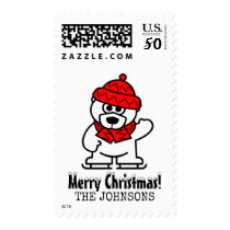 Merry Christmas cute ice skating polar bear stamps