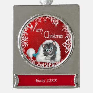 Merry Christmas Cute Kitty Banner Ornament - Silve