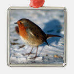 Merry Christmas Cute Little Robin in the Snow Metal Ornament