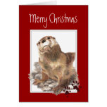 Merry Christmas, Cute Otter Animal Greeting Card