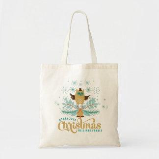 Merry Christmas Cute Owl & Wreath Budget Tote Bag