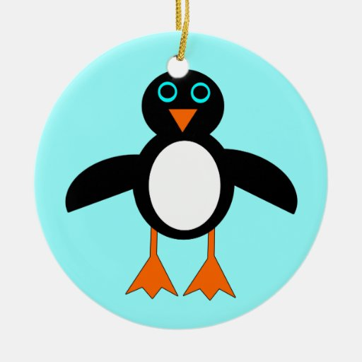 Merry Christmas Cute Penguin Custom Tree Ornament