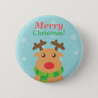 Merry Christmas Cute Reindeer Red Nose Butoon Button