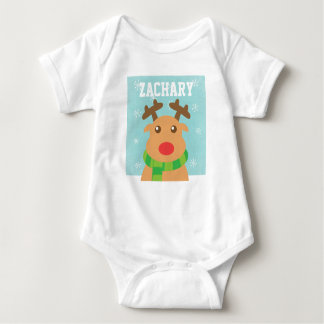 Merry Christmas - Cute Reindeer with Red Nose Baby Bodysuit