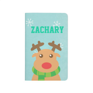 Merry Christmas - Cute Reindeer with Red Nose Journal