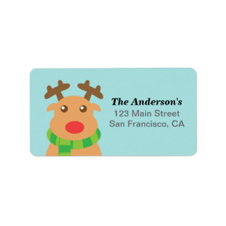 Merry Christmas - Cute Reindeer with Red Nose Personalized Address Labels