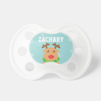 Merry Christmas - Cute Reindeer with Red Nose Baby Pacifiers