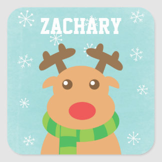 Merry Christmas - Cute Reindeer with Red Nose Square Sticker