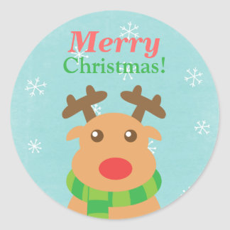 Merry Christmas - Cute Reindeer with Red Nose Stickers
