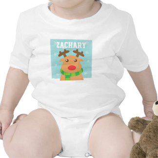 Merry Christmas - Cute Reindeer with Red Nose Rompers