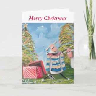 Merry Christmas cute sheep Holiday Card