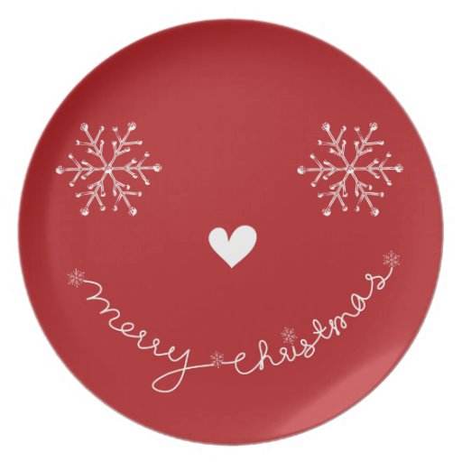 Merry Christmas Cute Smiley Holiday Plate