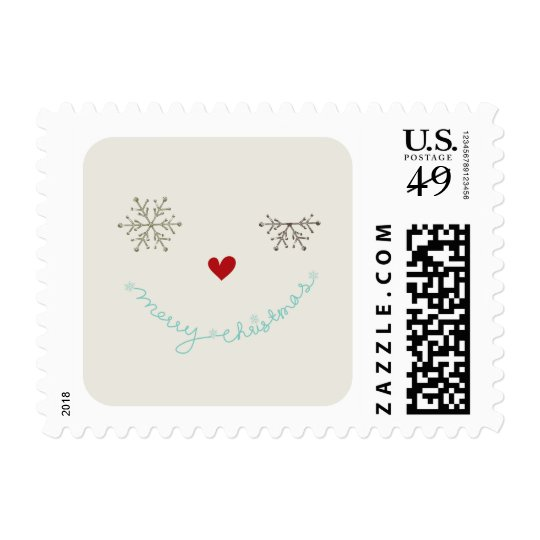 Merry Christmas Cute Smiley Wink Holiday Stamps