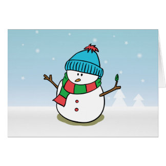 Merry Christmas - Cute Snowman out in the Snow Card