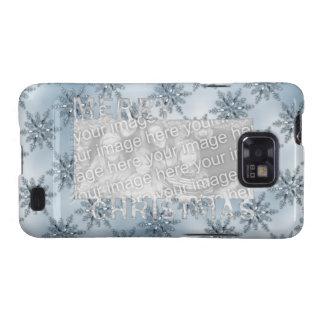 Merry Christmas CutOut Photo Frame Blue Snowflakes Samsung Galaxy S Cover
