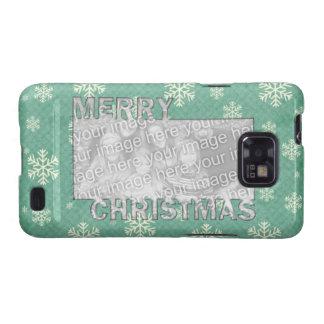 Merry Christmas CutOut Photo Frame Mint Snowflakes Samsung Galaxy Case