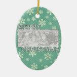 Merry Christmas CutOut Photo Frame Mint Snowflakes Ceramic Ornament