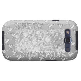 Merry Christmas CutOut Photo Frame Silver Reindeer Samsung Galaxy S3 Case