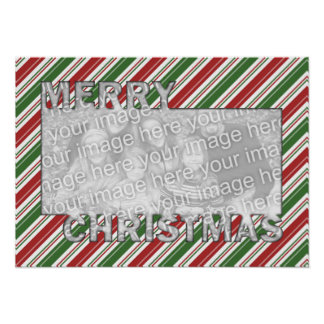 Merry Christmas CutOut PhotoFrame Red Green Stripe Posters